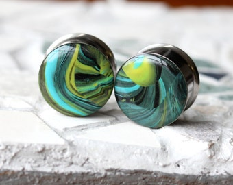"""3/4"""" Ear Plugs, Green Gauges, OOAK Ear Plugs, Unique Plugs, Double Flare, Stretched Ears - size 3/4"""" (19mm)"""