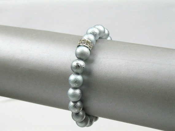Bead Bracelet in Silver Blue with Rhinestone Pave / Stretch Bracelet / Womens Gift for Her / Mother of the Bride Bracelet / Bridal Jewelry