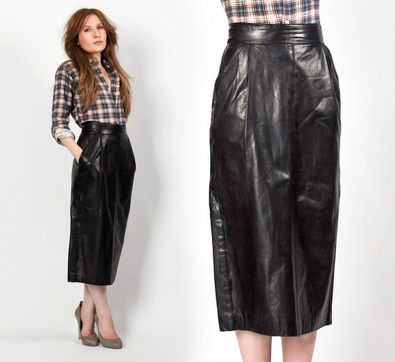 buttery soft leather vintage 80s pencil skirt m by