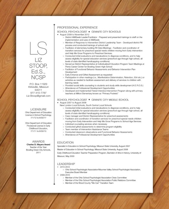 items similar to custom resume template big initials on etsy