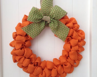 Burlap Fall Pumpkin Wreath with Green Chevron Burlap Bow