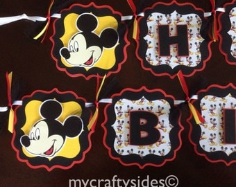 Mickey Mouse Party Decorations, Mickey Mouse Banner, Personalized Mickey Mouse Banner Red/Black/Yellow