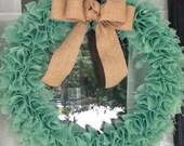 Mint Blue Burlap Wreath with Natural Burlap Bow