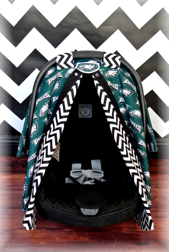 items similar to philadelphia eagles car seat canopy car seat cover nfl chevron football. Black Bedroom Furniture Sets. Home Design Ideas