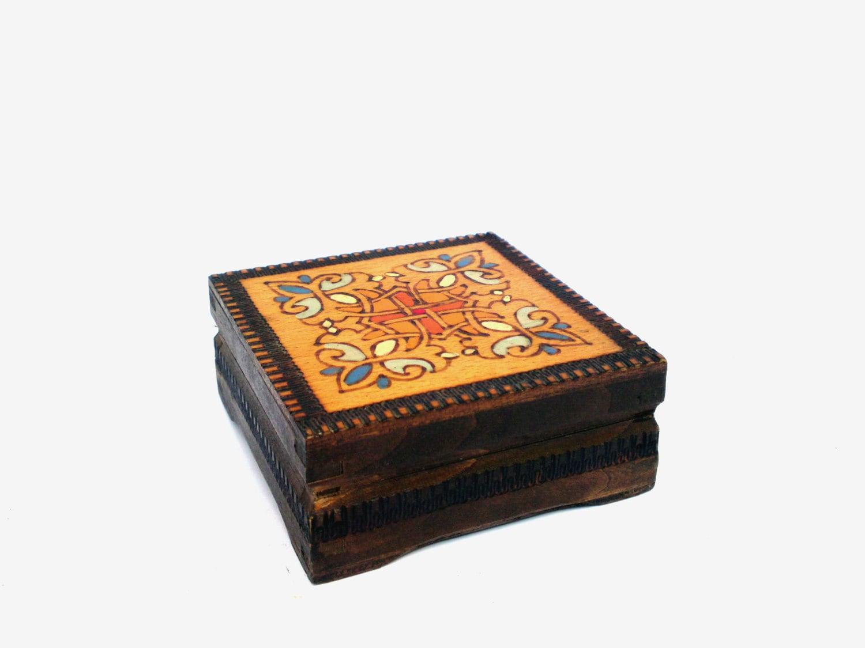 Vintage jewelry wooden box retro wooden box handmade for Handmade wooden jewelry box