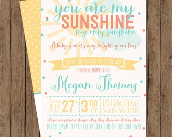 You Are My Sunshine! Baby Shower Invite: Digital File Printable - Coral and Aqua