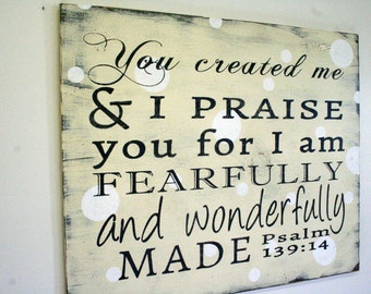 Religious Nursery Decor You Created Me Wallhanging Shabby Chic Nursery Baby Shower Gift New Baby Wallhanging Distressed Wood Sign Cream