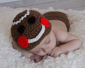 Christmas GINGERBREAD Cookie crochet hat  Many Sizes preemie newborn, 0-3 month,3-6 month , 6-12 month, 1-3y christmas holiday hatr