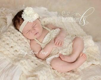 Baby Headband,Newborn Headband,Ivory Headband,Preemie,Infant, Baptism Headband,Toddler,Wedding Headband-Vintage headband,baby hair bows,girl