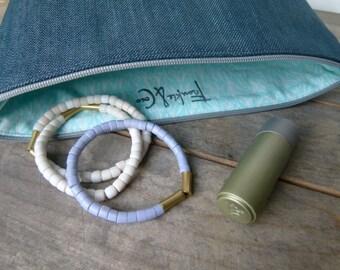 Denim Cosmetic Bag, Denim Toiletry Bag, Bridesmaid Gift, Holiday Gift, Denim Zipper Pouch, Denim Storage Bag