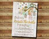 Owl Bird Cage Tree Limb Bridal Shower Invitation (digital file) Fall, Wood, Autumn