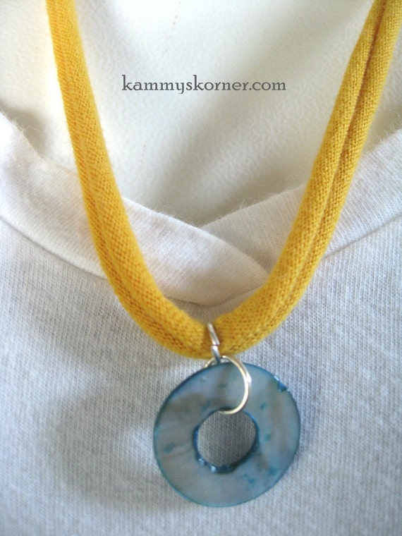 Yellow Turquoise T Shirt Necklace