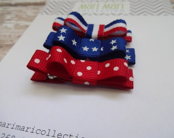Patriotic Hair Clips - 4th of July - Hair Clips for Baby - Baby Barrettes - Baby Hair Clip - Red White and Blue Hair Bow - Hair Accessories