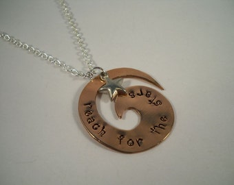 Reach for the Stars Hand Stamped Copper Necklace