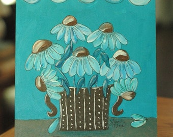 Coneflower Blues, Whimsical Folk Art Original Acrylic Painting by Lana Manis