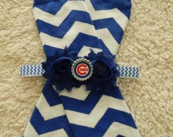 SET leg warmers/headband Chicago Cubs inspired baby
