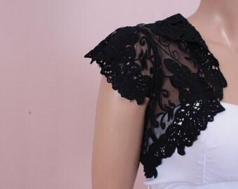 Black  handmade shrug  jacket  lace wedding bolero