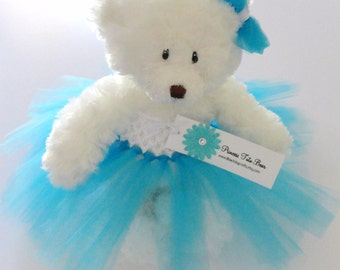 Turquoise Princess Tutu Teddy Bear, girls gift, flower girl gift, Wedding Keepsake