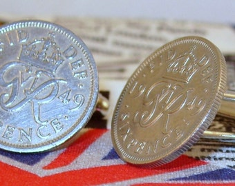 Boxed Pair Vintage British 1949 Lucky Sixpence Six Penny Coin Cufflinks Wedding 68th Birthday Anniversary