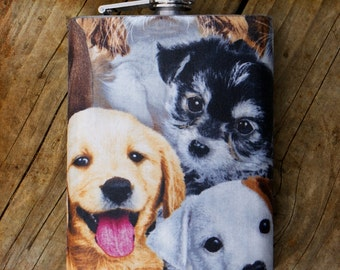 Puppy Love 8 oz. Flask // Hip flask // Stainless Steel Flask