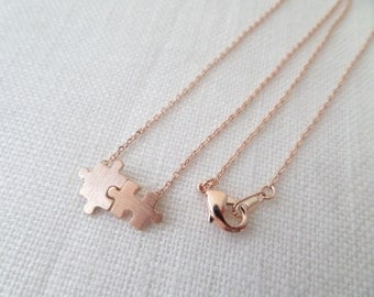 Rose gold, gold or silver puzzle necklace...dainty, simple and fun