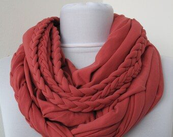 Light Cranberry Loop Scarf - Infinity Jersey Scarf - Partially braided Circle Scarf - Scarf Nekclace
