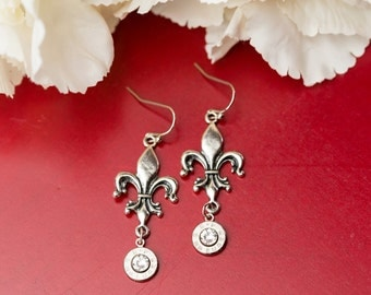 Bullet Casing Jewelry - Fleur de Lis Bullet Earrings (9mm) (Nickel Free)