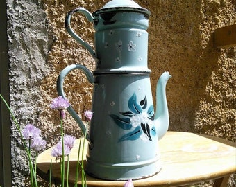 Enamelware Pattern Coffee Pot Cafetière French Vintage Extra Large French Biggin