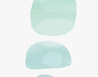 "8 x10 "" Abstract Art Print - Seafoam -Watercolor overlays, three circles, soft green, mint"