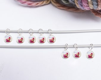 Stitch Markers - Gifts for Knitters - 8 Cat Stitch Markers - Knitting Gifts - Stitch Marker Sets ( cat 7)