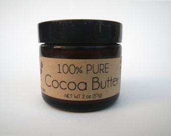 Pure Cocoa Butter 2oz Organic All Natural Fair Trade // Sensitive Skin & Stretch Marks