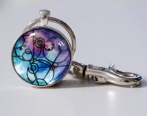 Design Your Own Gallifreyan Keychain, Doctor Who Inspired, Custom Keyring