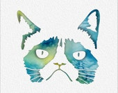 Grumpy Cat Watercolor Painting Art Print 5 x 7