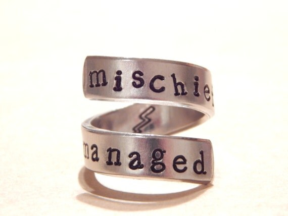 Mischief Managed - Harry Potter Inspired - Aluminum Wrap Ring  - Hand Stamped