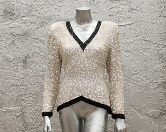 Vintage Opalescent Sequin Beaded Top