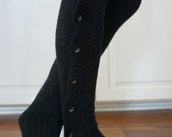 CLOSEOUT!  Boot Cozies in Silver Sage: Lace and Button Leg Warmers and Boot Socks