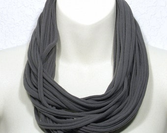 Infinity Necklace Scarf Upcycled Jersey T-Shirt Seamless String Necklace