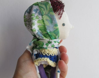 Fabric toy - Miniature doll - Gift for boy girl - Wall decor home - Stuffed textile rag doll.