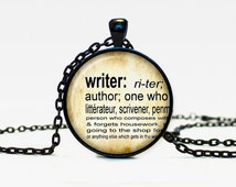 Writer necklace vintage dictionary definition of Writer word pendant word Writer jewelry