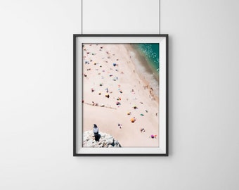 Photo of People on the Beach. Fine Art Photography Gallery. Portugal beach (Nazaré), Pigeon. Europe.Summer. Fine Art Photography. Wall photo