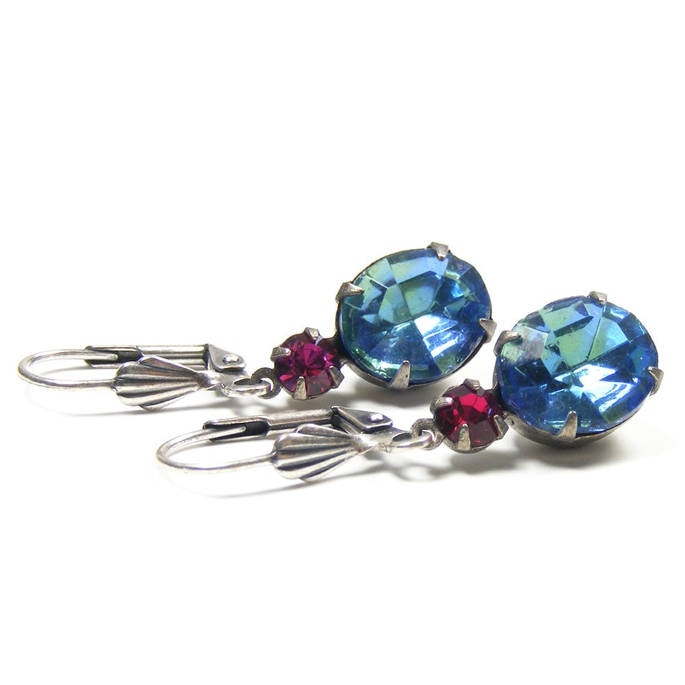 Blue Jewel Earrings, Great Gatsby Style Drop Earrings, 1950s Vintage Glass Rhinestone Jewels, Blue, Sea Green & Fuchsia Pink