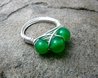 Green Jade Ring, Wire Wrapped Ring, Cluster Ring, Jade Stone Ring, Wire Wrapped Jewelry Handmade, Green Ring, Green Stone Ring