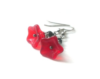 Red Glass Flower Earrings, Czech Glass Earrings, Flower Dangle Earrings, Flower Jewelry - Available as Hypoallergenic and Clip-on Earrings