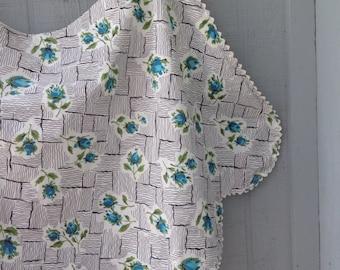 Vintage Mid Century Turquoise Rose Pattern Half Apron - Cotton Hostess Apron