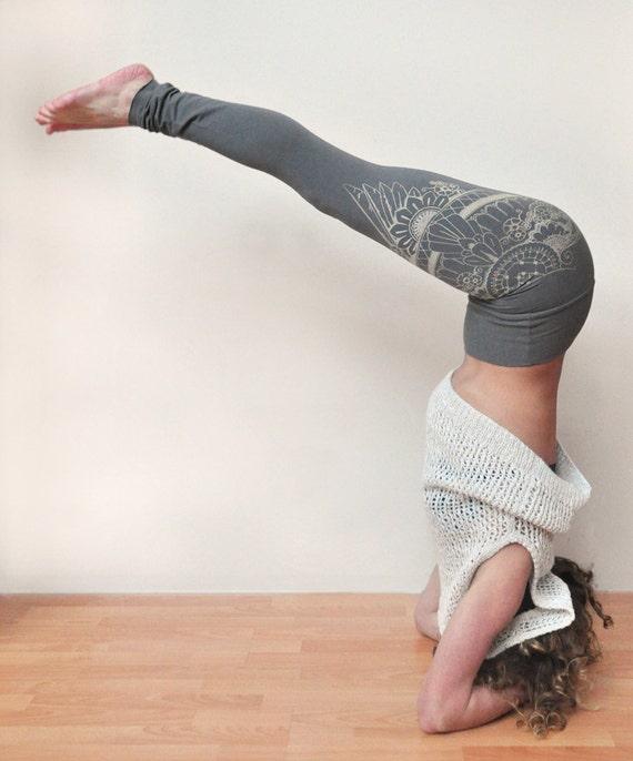 High Waisted Leggings Yoga Pants Henna Eagle Wing Handmade