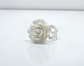 White Rose Ring; Silver Filigree Ring; Resin Rose Ring; Flower Ring; Rose Jewelry; Statement Ring; Snow White Ring; 20mm Rose Cabochon Ring