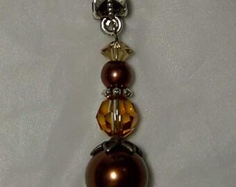 """Cynthia Lynn GLOWING EMBERS Copper Pearl & Swarovski Crystal Pendant 1.75"""""""