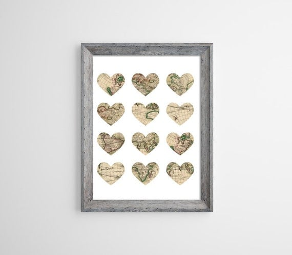 Map in Hearts Poster. Wanderlust. Love to Travel Print. Vintage Map. Heart Maps. Travel.