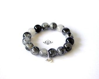 Natural Black Tourmalated Quartz Beads Stretch Bracelet in 10, 12, or 14mm diameter