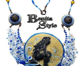 Bead Embroidery Necklace Pendant Beadwork with  Black Onyx and Blue Swarovski crystals, THE LITTLE MERMAID - blue - black - yellow